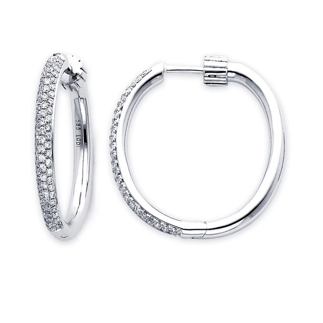 Diamond Hoop Earrings 14k White Gold Classic Large Puff (0.90 Carat)