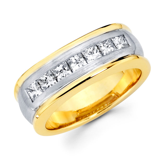 Mens Princess Diamond Anniversary Ring 14k Multi Tone Gold Band 1.14ct