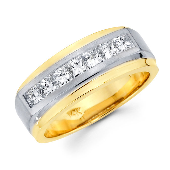 Mens Princess Diamond Wedding Band 14k Multi Tone Gold Band (1.12 CTW)