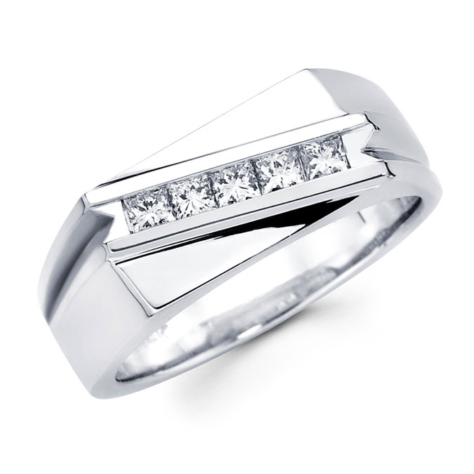 Mens Princess Diamond Anniversary Band 14k White Gold Ring (1/2 Carat)
