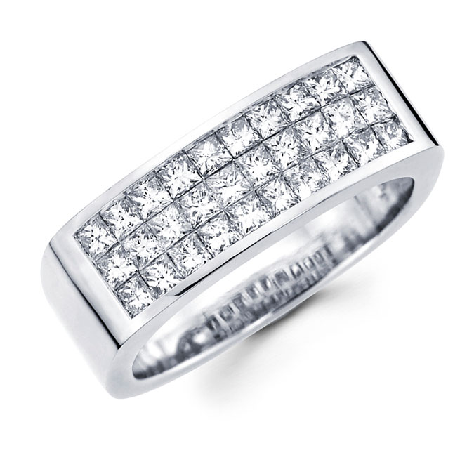 Mens Princess Diamond Anniversary Band 14k White Gold Ring (1.70 CTW)