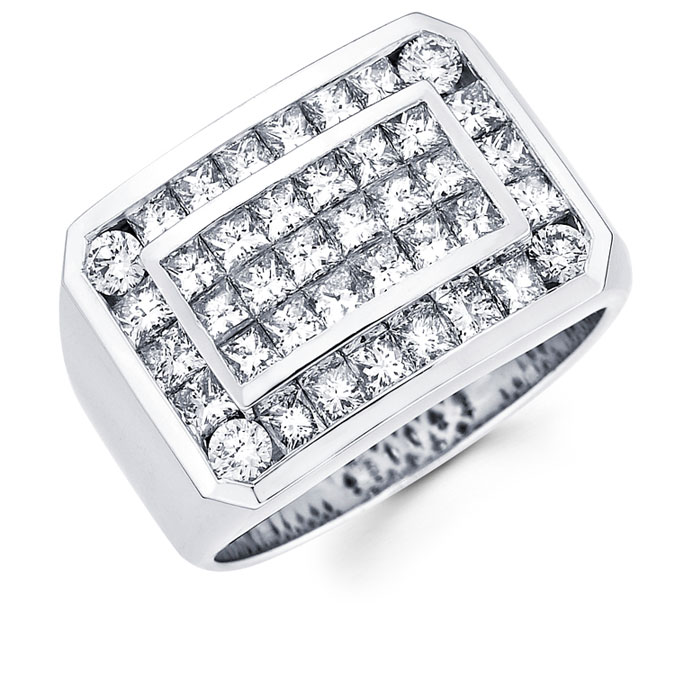 Mens Princess Diamond Anniversary Ring 14k White Gold Band (3.45 CTW)