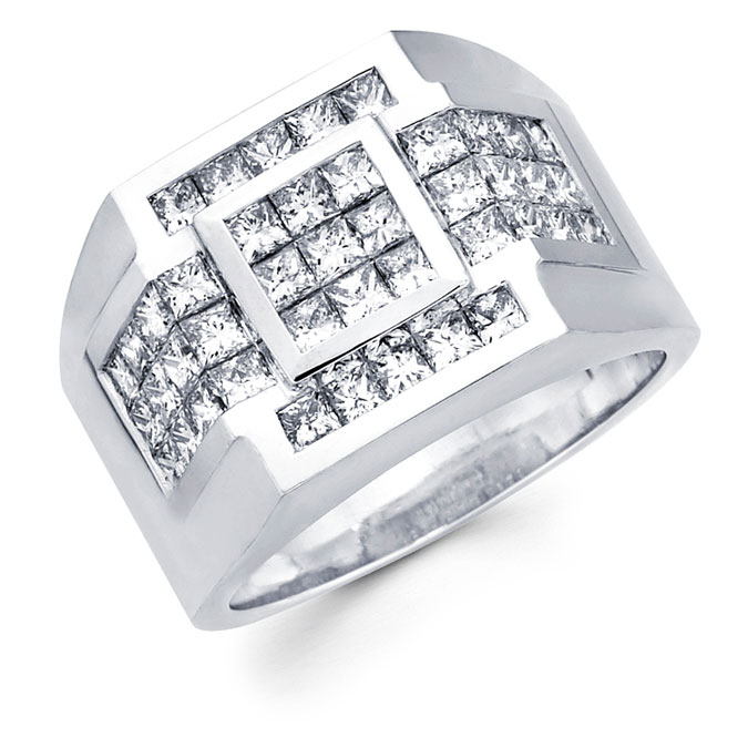 Mens Square Diamond Anniversary Ring 14k White Gold Band (2.84 Carat)