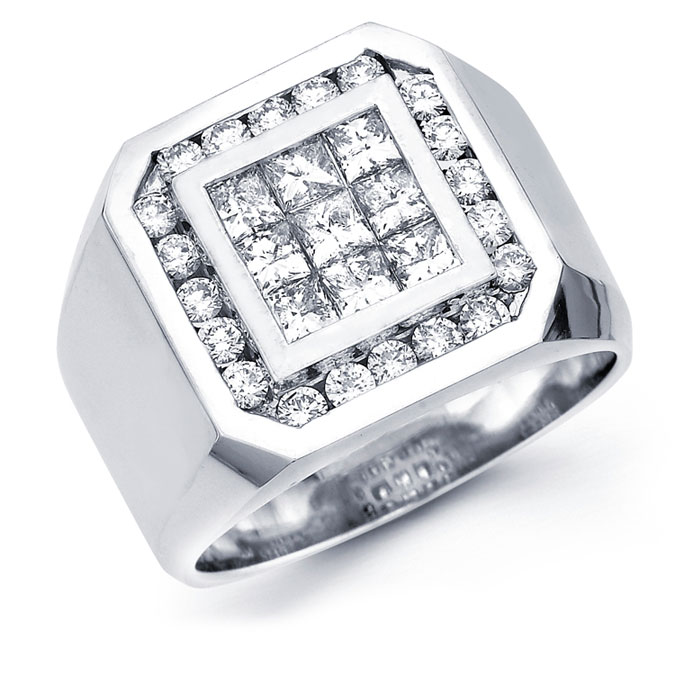 Mens Princess Diamond Anniversary Band 14k White Gold Ring (1.94 CTW)