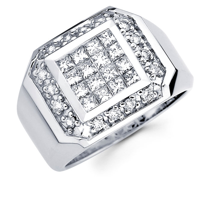 Mens Princess Diamond Anniversary Ring 14k White Gold Band (1.45 CTW)