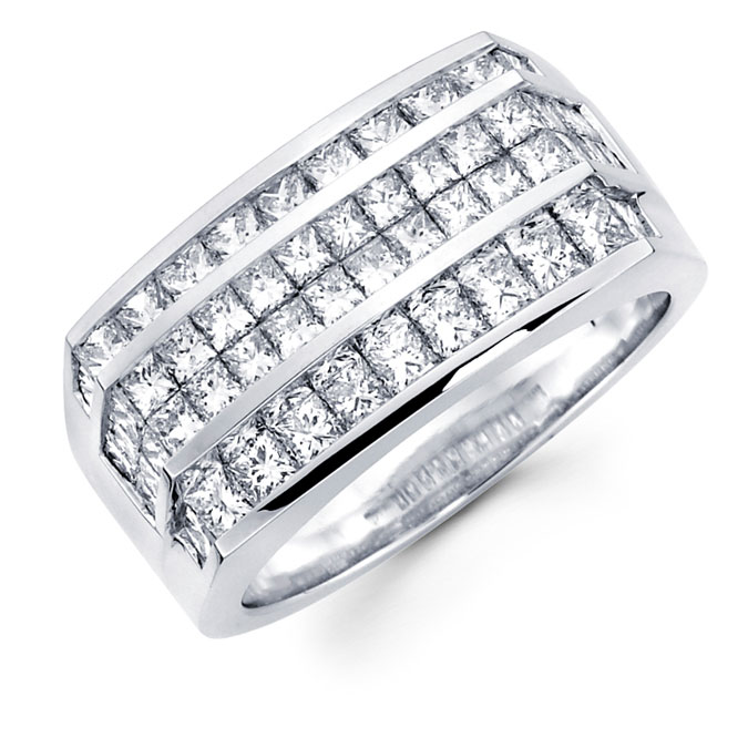 Mens Square Diamond Anniversary Band 14k White Gold Ring (3.30 Carat)