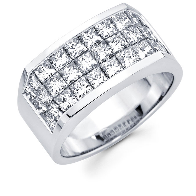 Mens Princess Diamond Anniversary Band 14k White Gold Ring (4.20 CTW)