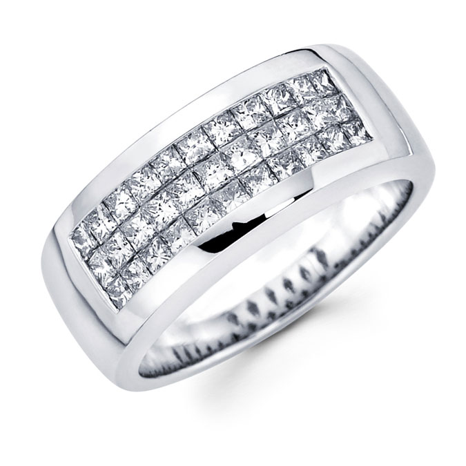Mens Diamond Anniversary Band 14k White Gold Wedding Ring (1.38 Carat)