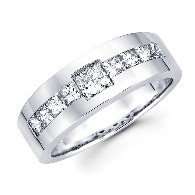 Mens Princess Diamond Wedding Band 14k White Gold Ring (1.43 Carat)