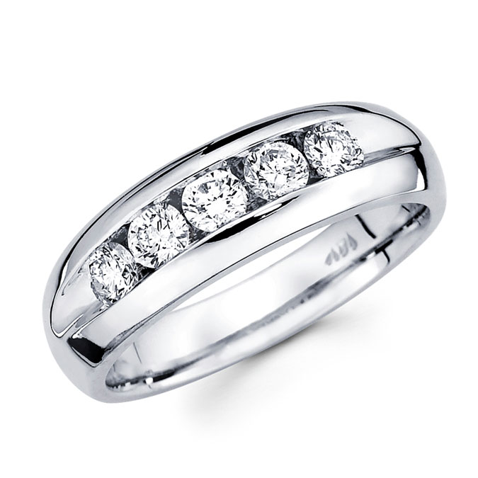 Five Stone Round Diamond Wedding Band 14k White Gold Ring (0.98 Carat)