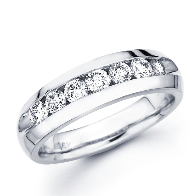 Channel Set Round Diamond Wedding Band 14k White Gold Ring (1.00 CTW)
