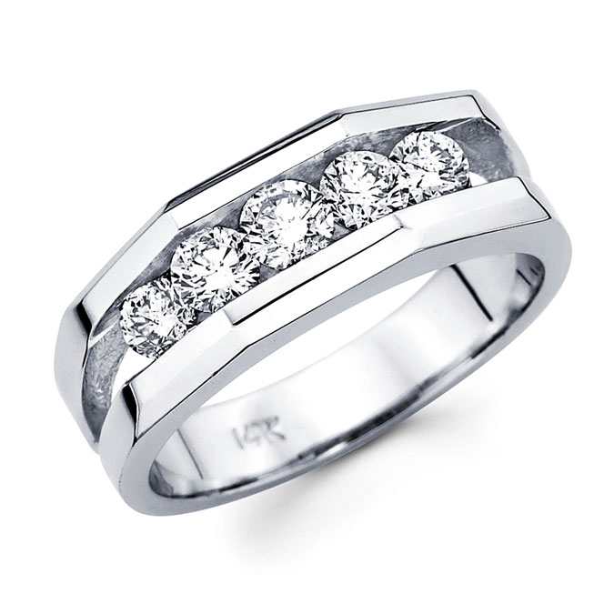 Mens Diamond Wedding Ring 14k White Gold Anniversary Band (1.14 Carat)