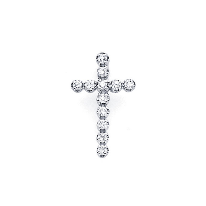Cross Diamond Pendant 14k White Gold Religious Small Charm (0.17 CTW)