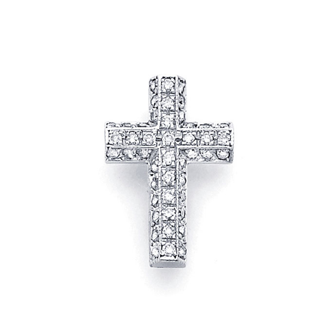 Cross Diamond Pendant 14k White Gold Crucifix Charm Religious (1/2 CT)