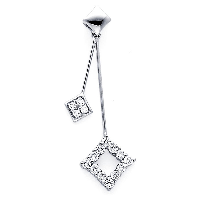 Dangle Diamond Pendant Square Infinity Charm 18k White Gold (1/4 CTW)