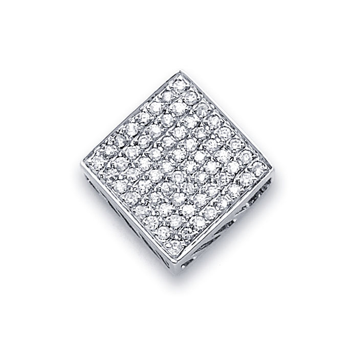 Square Diamond Pendant 14k White Gold Fashion Charm (1/2 Carat)