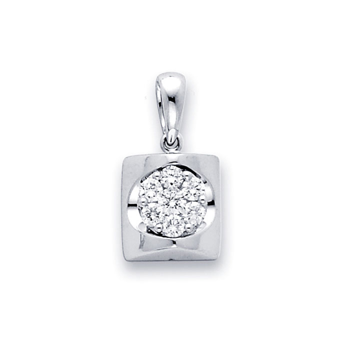 Fashion Diamond Pendant 18k White Gold Flower Cluster (1/3 Carat)