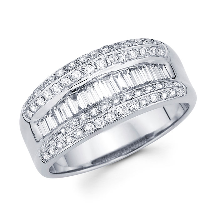 Diamond Anniversary Ring 14k White Gold Fancy Fashion Band (3/4 Carat)