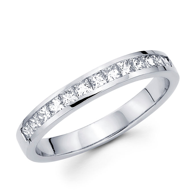 Princess Diamond Wedding Band 14k White Gold Anniversary Ring (1/2 CT)