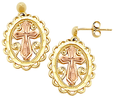 Cross Dangle Earrings 14k Rose Yellow Gold Men Ladies