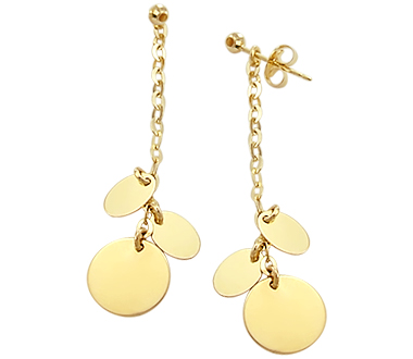 Fashion Dangle Earrings 14k Yellow Gold Chandelier 2 inch