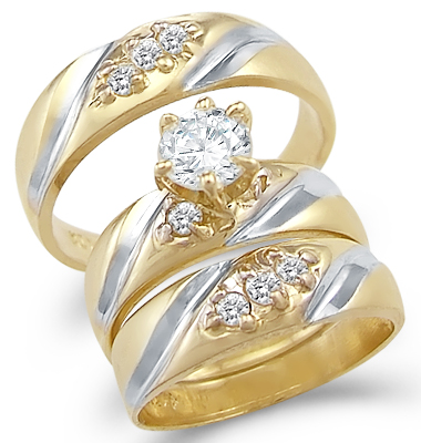 CZ Engagement Ring & Wedding Bands 14k Yellow Gold Bridal (1.50 Carat)