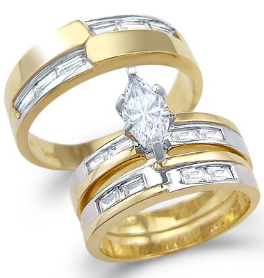 CZ Engagement Ring & Wedding Bands 14k Yellow Gold Bridal (1.25 Carat)
