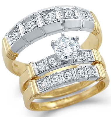 CZ Engagement Ring Set & Wedding Bands 14k White Yellow Gold (1.25 CT)