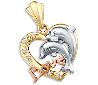 Heart Love Dolphins Pendant Cubic Zirconia 14k Yellow White Gold Charm