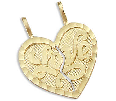 Love Breakable Heart Charm 14k Yellow Gold Pendant