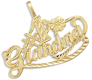 # 1 Grandma Mother 14k Yellow Gold Pendant Love Charm