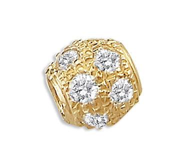 CZ Bead Slide Ball Charm 14k Yellow Gold Pendant Cubic Zirconia