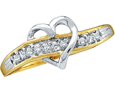 Diamond Heart Ring 10k White Yellow Gold Band (0.05 Carat)