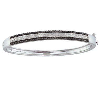 Black Diamond Bangle Bracelet 14k White Gold (1.34 Carat)