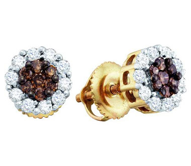 Brown Champagne Diamond Earring Studs Round 14k Yellow Gold (1/2 CTW)