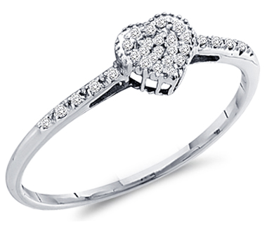 Heart Diamond Ring Anniversary Band 10k White Gold (0.07 Carat)