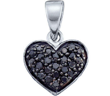 Black Diamond Heart Pendant 10k White Gold Womens (0.24 Carat)