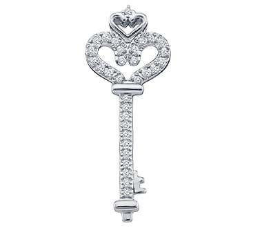 Diamond Key Pendant Heart 10k White Gold Charm (1/10 Carat)