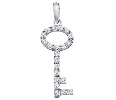 Diamond Key Pendant White Gold Fashion Charm (1/4 Carat)