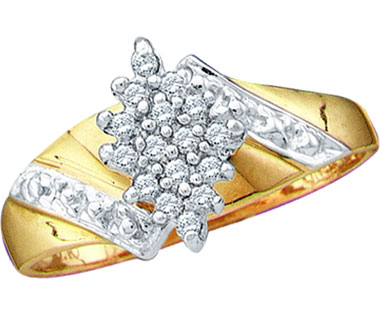 Diamond Cluster Ring 10k Yellow Gold Anniversary (1/10 Carat)