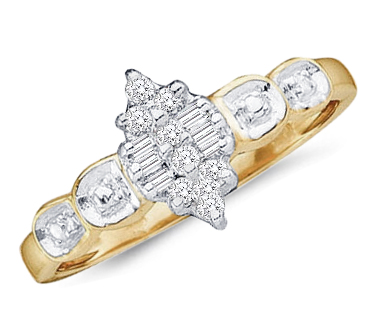 Diamond Promise Ring 10k Yellow Gold Anniversary (1/10 Carat)