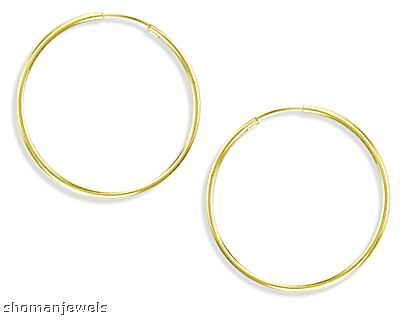 Hoop Earrings 14k Yellow Gold Plain Solid 2/3 inch