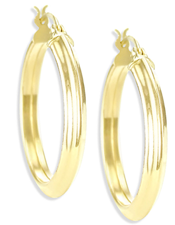 Classic Hoop Earrings 14k Yellow Gold Huggie 3/4 inch