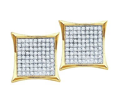 Diamond Earring Studs 10k Yellow Gold Micro Pave Set (0.40 Carat)
