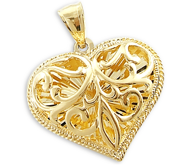 Heart Pendant 14k Yellow Gold Love Charm 3D Large